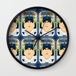 Baseball Blue Pinstripes - Deuce Crackerjack - Amy version Wall Clock