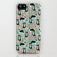 border collie cute florals mint pink black and white dog gifts for dog lover iPhone (5, 5s) Slim Case