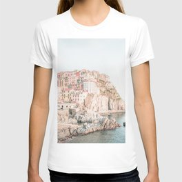 Positano, Italy Amalfi coast pink-peach-white travel photography in hd T-shirt
