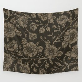 Midnight Blooms Wall Tapestry