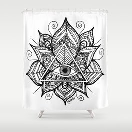 Black and White Evil Eye Lotus Shower Curtain