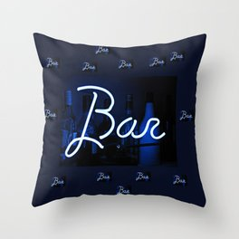 Bar sign blue and neon light Throw Pillow