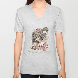 Be swan not a duck. Fashion trendy design with bird in rose flowers, conceptual art print Unisex V-Neck