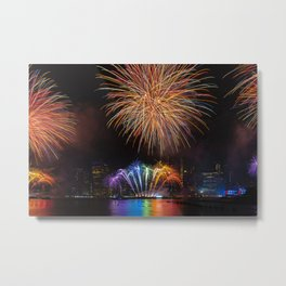 Rainbow 4th of July Independence Day Fireworks show on east river with Lower Manhattan Skyline Metal Print