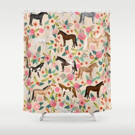 Horses floral horse breeds farm animal pets Shower Curtain
