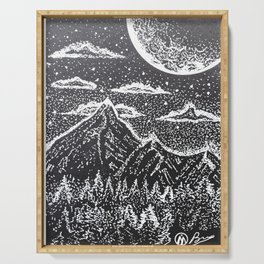 """""""Supermoon"""" Hand-Drawn by Dark Mountain Arts Serving Tray"""