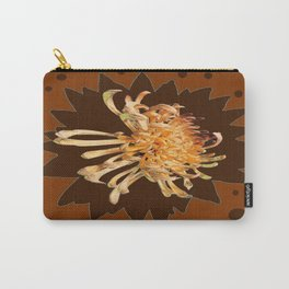 Golden Yellow Spider Mum Coffee-Chocolate Brown Art Carry-All Pouch