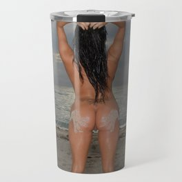 9524-SS Naked Woman Nude Beach Sand Surf Sandy Handprint Big Breasts Long Black Hair Sexy Erotic Art Travel Mug