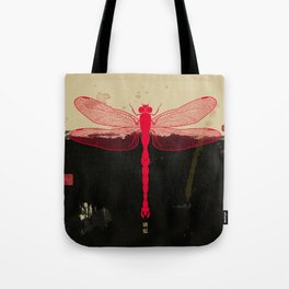 Big Dragonfly In Red And Black Tote Bag