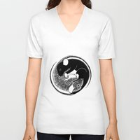 ying yang V-neck T-shirts featuring Ying & Yang by Brittany Rae