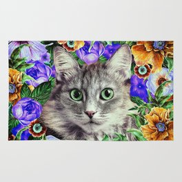 Cat in Flowers. Spring Rug