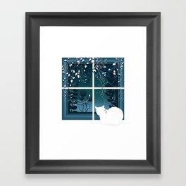 White Kitty Cat Window Watcher Framed Art Print