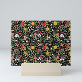 Amazing floral pattern with bright colorful flowers, plants, branches and berries on a black backgro Mini Art Print