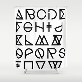 "Print ""Geometrical ABC"" Shower Curtain"