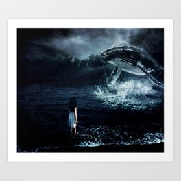 The Girl Who Sings With Whales  Art Print