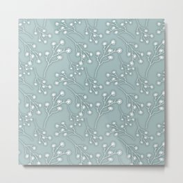 Baby's Breath Flower Pattern - Grey Green Metal Print