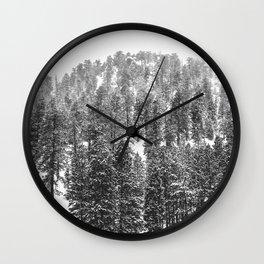 Mountain Snowfall // Snowy Peak Winter Landscape Photography Black and White Art Print Wall Clock