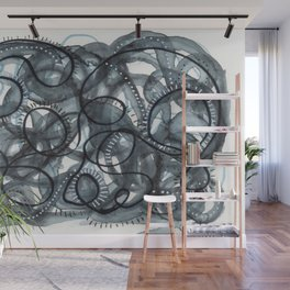 Grey Black and White Swirls Wall Mural