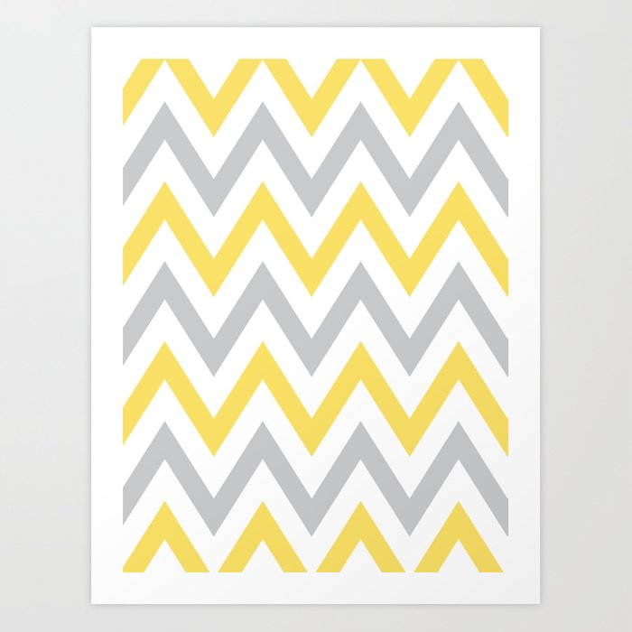 Gray & Yellow Chevron Art Print