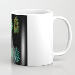 Tropical Palm Fronds Watercolor Study on Black Textured Background Coffee Mug