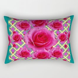 Fuchsia Roses  TEAL Art Pattern Abstract Rectangular Pillow