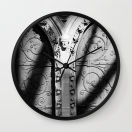 Black and White photograph of Church Doors by Larry Simpson in 2000 Wall Clock