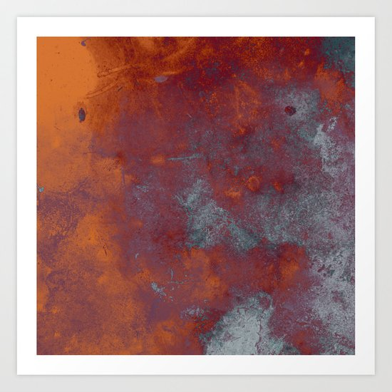 Cracked Amber - Textured abstract painting in amber and blue Art Print
