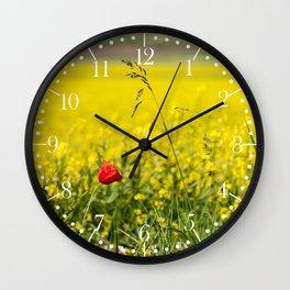 Red poppy in a yellow field Wall Clock