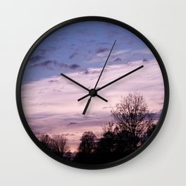 Blue & Pastel Pink Touching - Autumn Sunset #1 #art #society6 Wall Clock