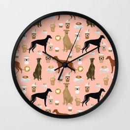 Greyhound coffee dog breed illustration dog art custom dog breeds groundhound rescue dog lovers Wall Clock