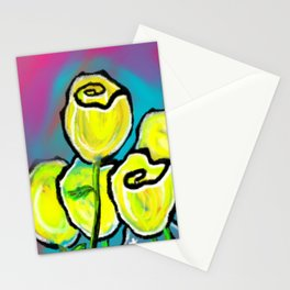 Colorful Yellow Rose Flowers with Purple Blue and Green Stationery Cards