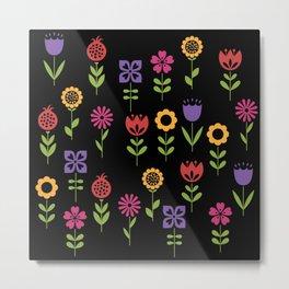 Folk Art Flowers Metal Print