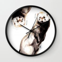 Steppen ferret (Mustela eversmanii) Wall Clock