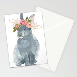 bunny with flower crown Stationery Cards