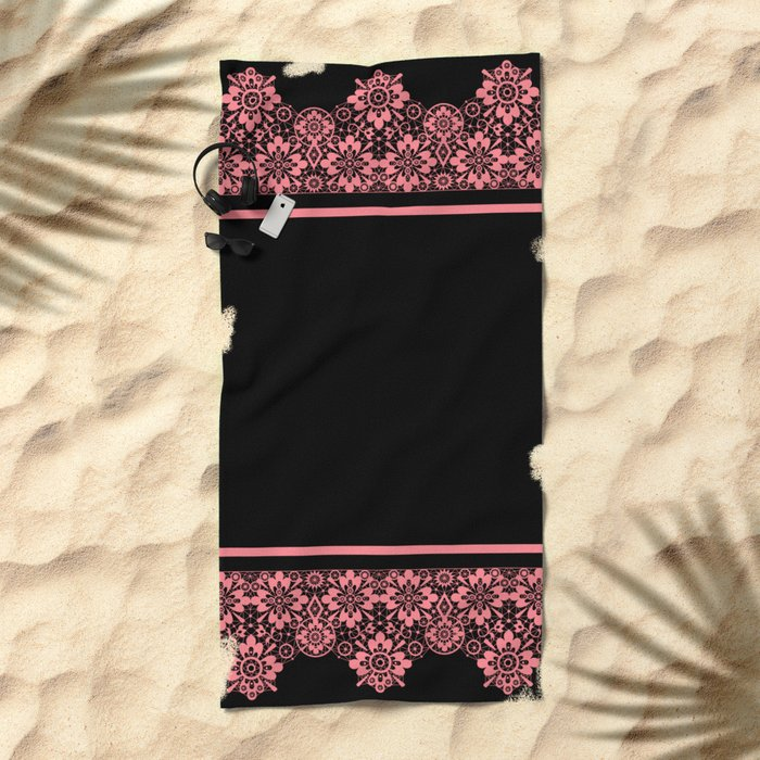 Retro .Vintage . Pink lace on a black background . Beach Towel