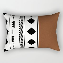Southwestern white with faux leather texture Rectangular Pillow