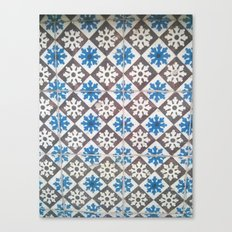 Porto Blue & Brown Tiles Canvas Print