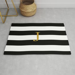 J Black White Stripes Rug