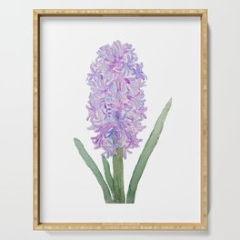 purple pink hyacinth watercolor Serving Tray