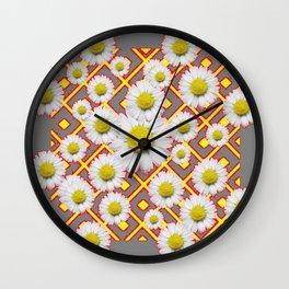 Shasta Daisies Red Pattern Art Grey abstract Wall Clock