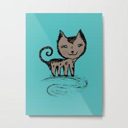 Happy Simple Cat Smiling Metal Print