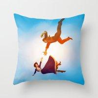 bioshock Throw Pillows featuring Bioshock Infinite by anansass