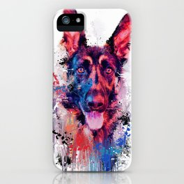 Drippy Jazzy German Shepherd Colorful Dog Art by Jai Johnson iPhone Case