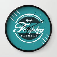 fitness Wall Clocks featuring Trophy Fitness by D Λ V I D