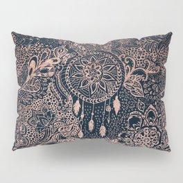 Boho rose gold dreamcatcher floral navy blue Pillow Sham
