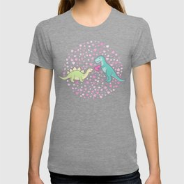 Cute Dinosaurs in Love, T-Rex is Giving a Heart to a Stegosaurus, Pastel Violet, Green, Mint Colors T-shirt