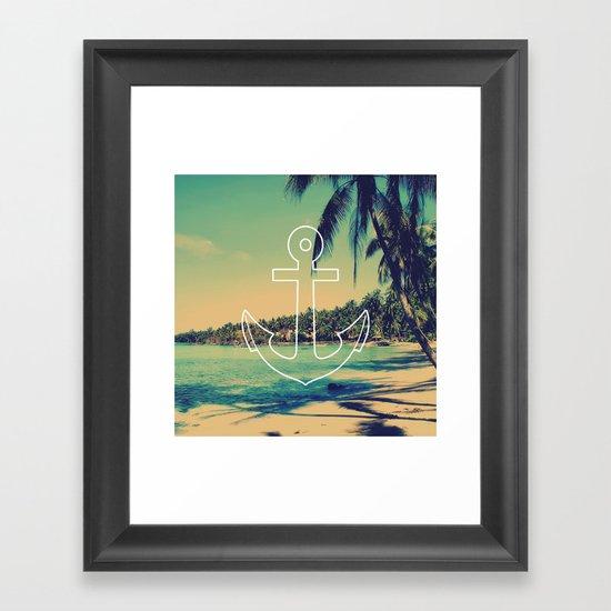Vintage Summer Anchor Framed Art Print