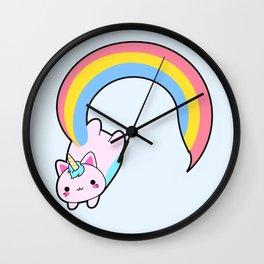 Kawaii proud rainbow cattycorn Wall Clock