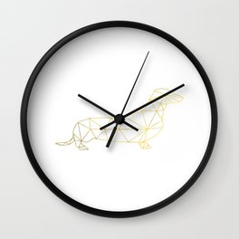 Faux Gold Foil, Gold, Geometric Dog, Wiener Dog Wall Art, Dog wall art, Wiener Print, Dachshund art Wall Clock