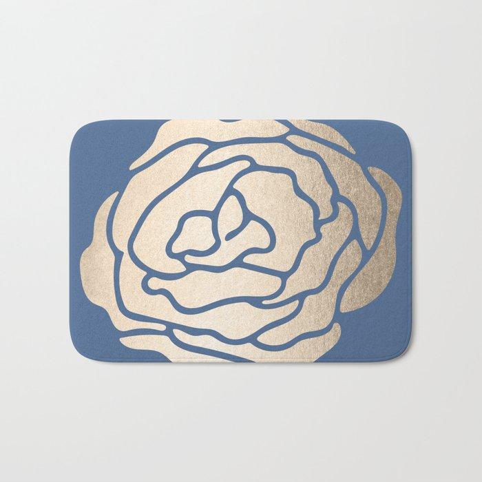 Rose White Gold Sands on Aegean Blue Bath Mat